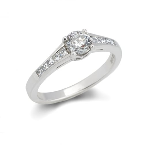 Goodwins 18ct White Gold Solitaire with Diamond Set Shoulders