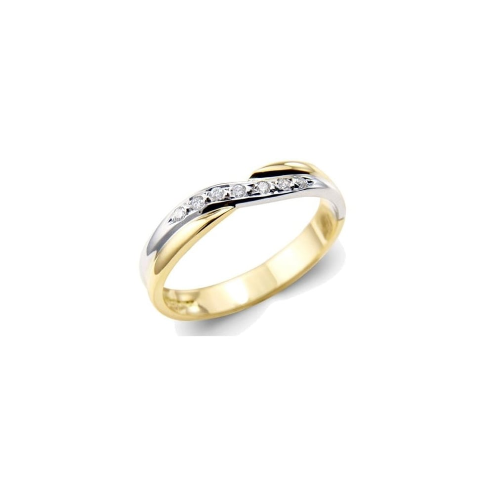 Goodwins 18ct Yellow And White Gold Diamond Crossover Ring Ladies From Goodwins Jewellers Uk