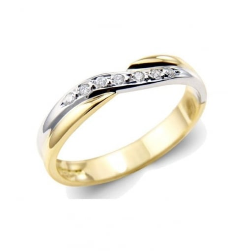Goodwins 18ct Yellow and White Gold Diamond Crossover Ring