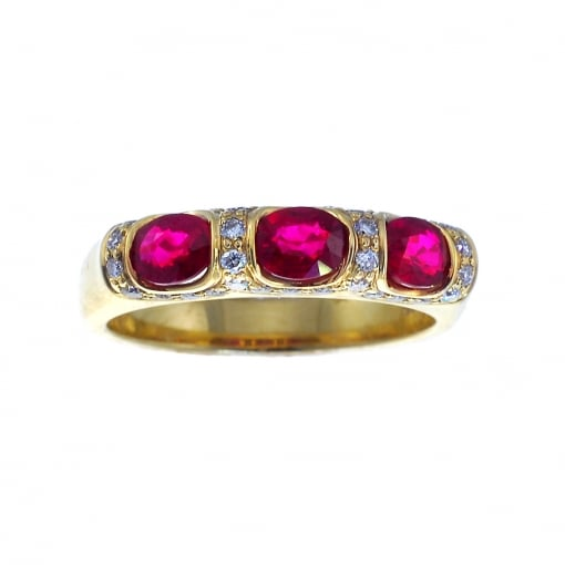 Goodwins 18ct Yellow Gold Ruby and Diamond Ring