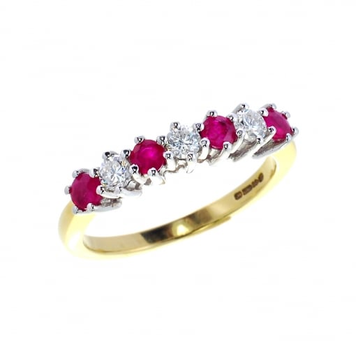 Goodwins 18ct Yellow Gold, Ruby & Diamond Half Eternity Ring