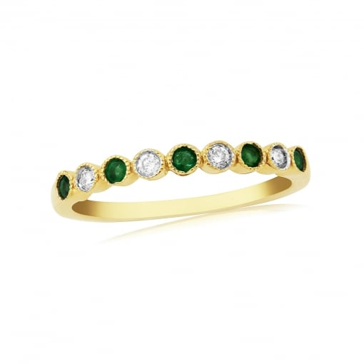 Goodwins 9ct Gold Half Eternity Ring Set with Emeralds and Diamonds