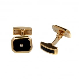 9ct Gold Onyx & Diamond Cufflinks