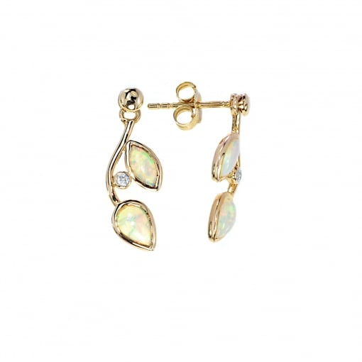 Goodwins 9ct Gold Opal and Diamond Earrings