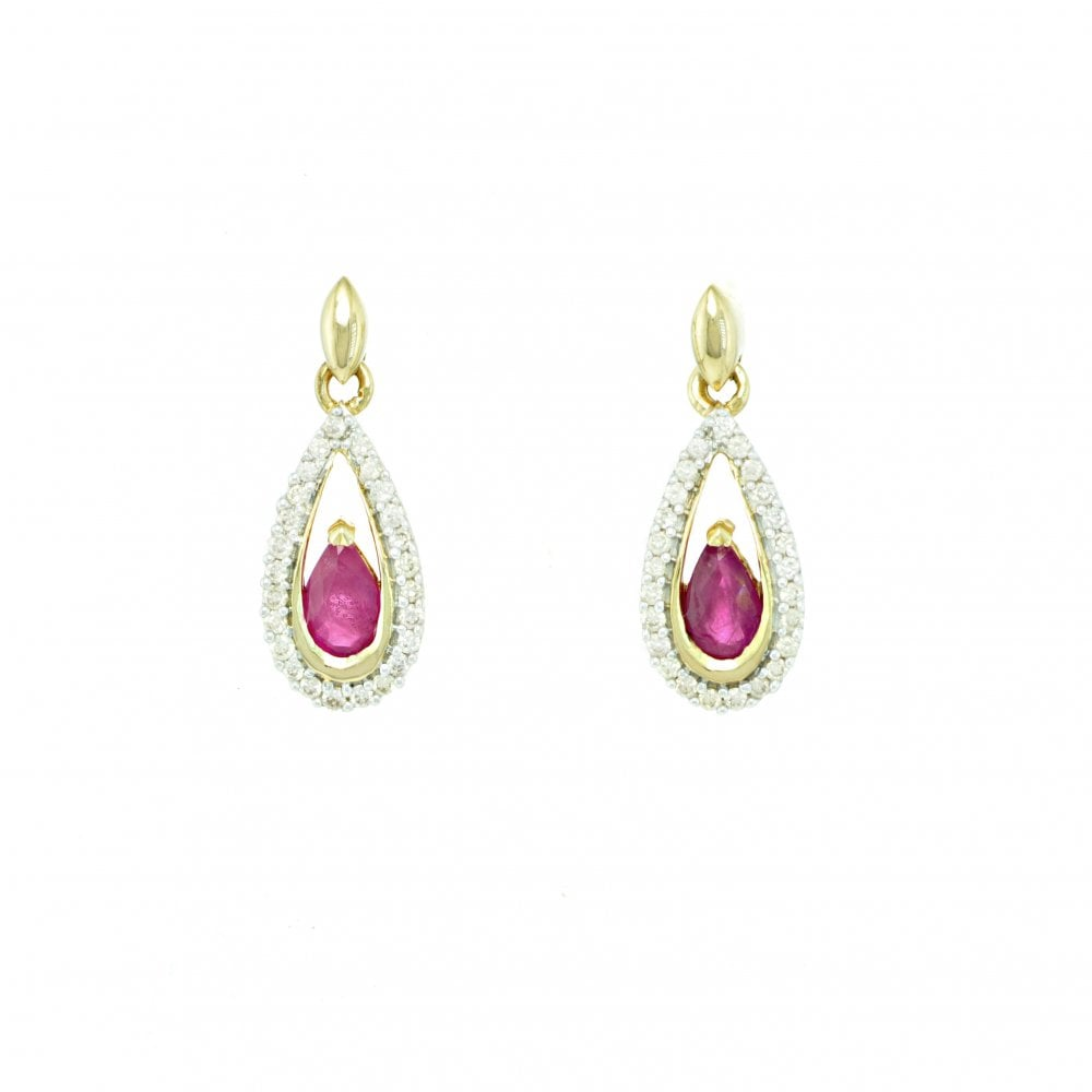 2cbae1a1dfd4a 9ct Gold Pear Shape Ruby and Diamond Drop Earrings