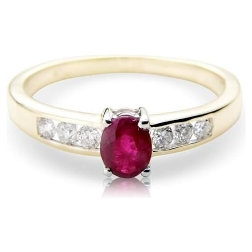 Goodwins 9ct Gold Ring with Round Ruby and Diamonds