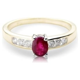 9ct Gold Ring with Round Ruby and Diamonds