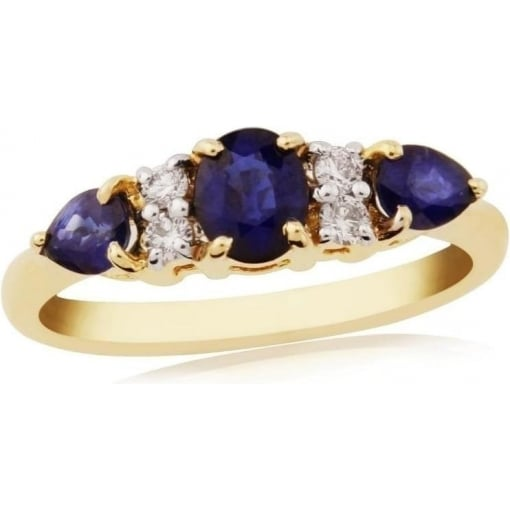 Goodwins 9ct Gold Ring with Sapphire and Diamonds
