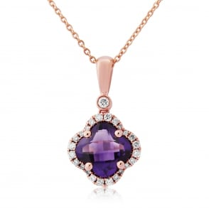 9ct Rose Gold Amethyst & Diamond Pendant and Chain