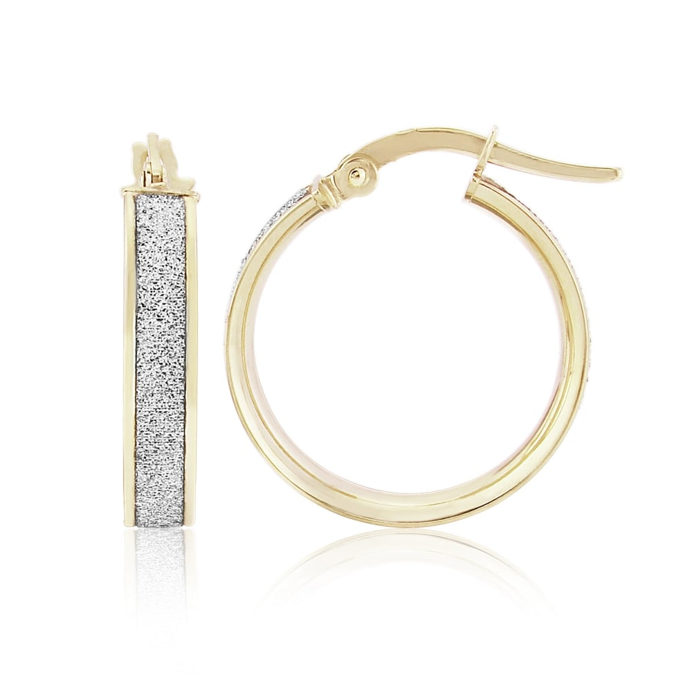 2d7cfe1d9 Goodwins 9ct Two Colour Gold Glitter Hoops. - Ladies from Goodwins ...