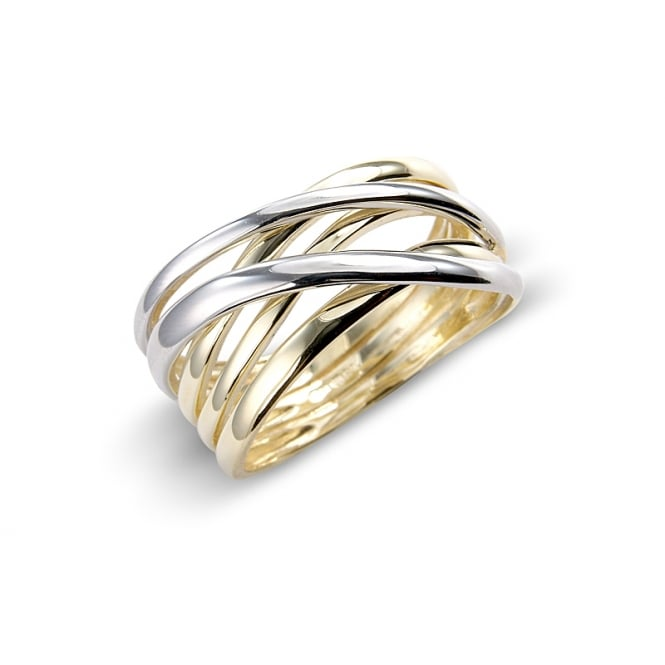 Goodwins 9ct White and Yellow Gold Strand Ring