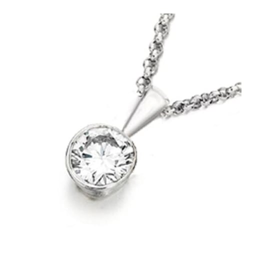 Goodwins 9ct White Gold 0.15ct Diamond Pendant and Chain.