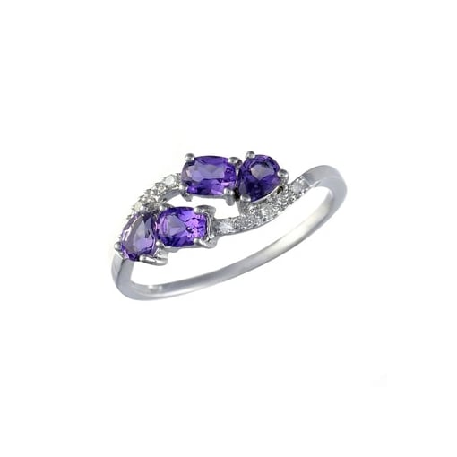Goodwins 9ct White Gold Amethyst & Diamond Ring