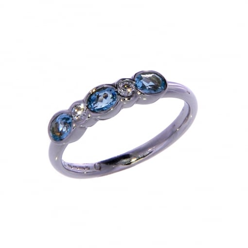 Goodwins 9ct White Gold Blue Topaz and Diamond Ring