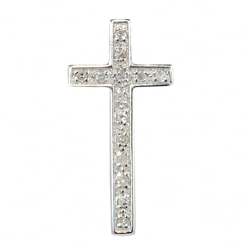 Goodwins 9ct White Gold Diamond Cross