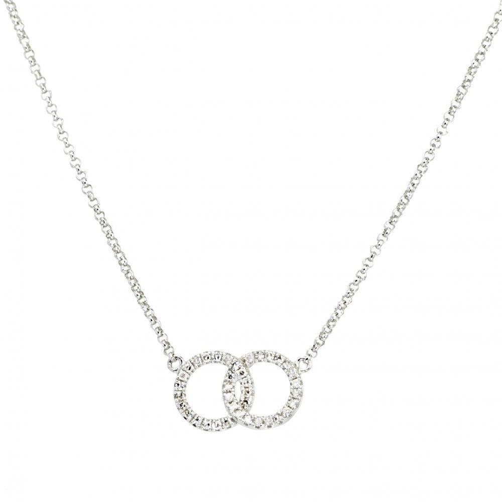 d09994e152c16f Goodwins 9ct White Gold Diamond Interlinking Circles Necklet ...