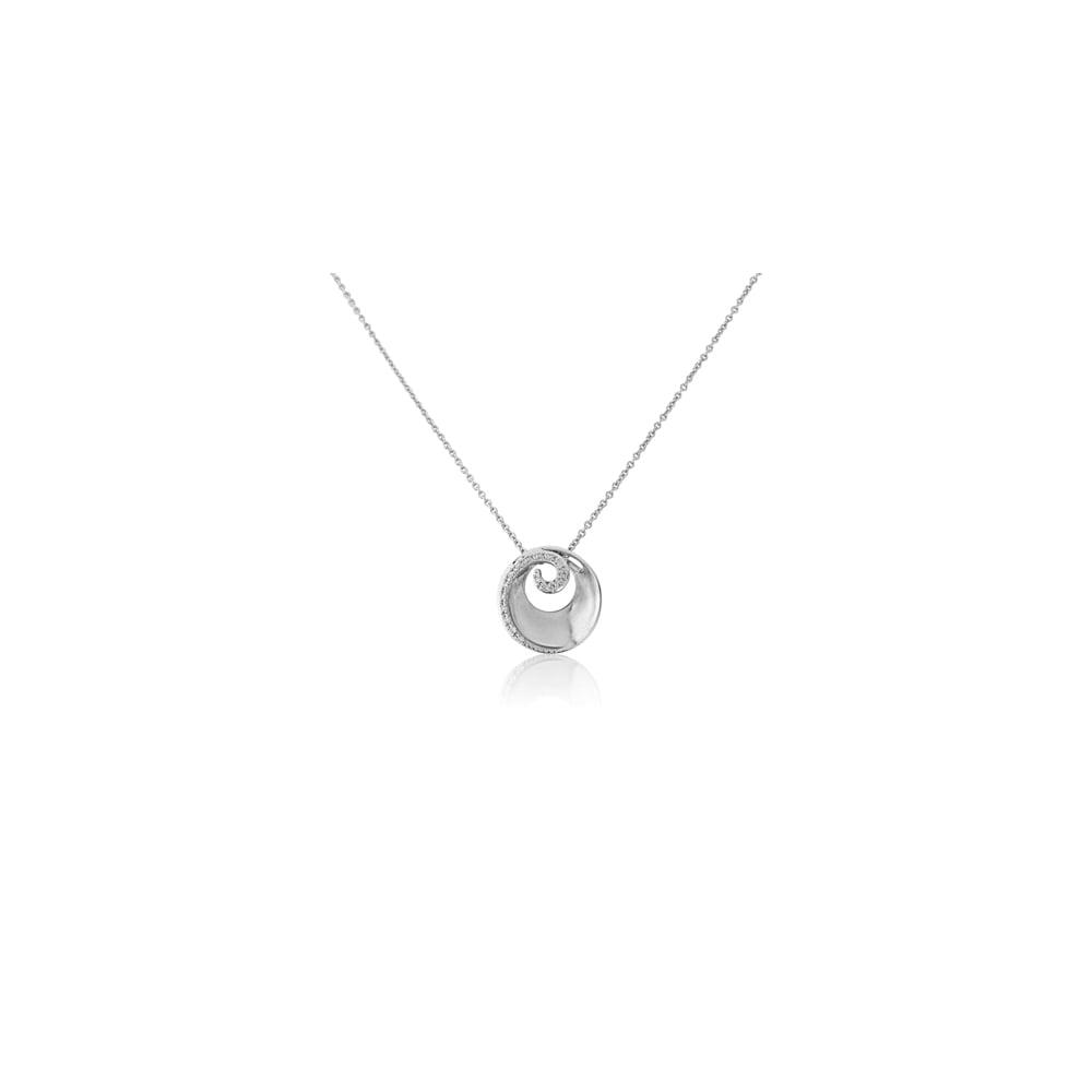 Goodwins 9ct white gold diamond pendant in a swirl design with chain 9ct white gold diamond pendant in a swirl design with chain aloadofball Choice Image