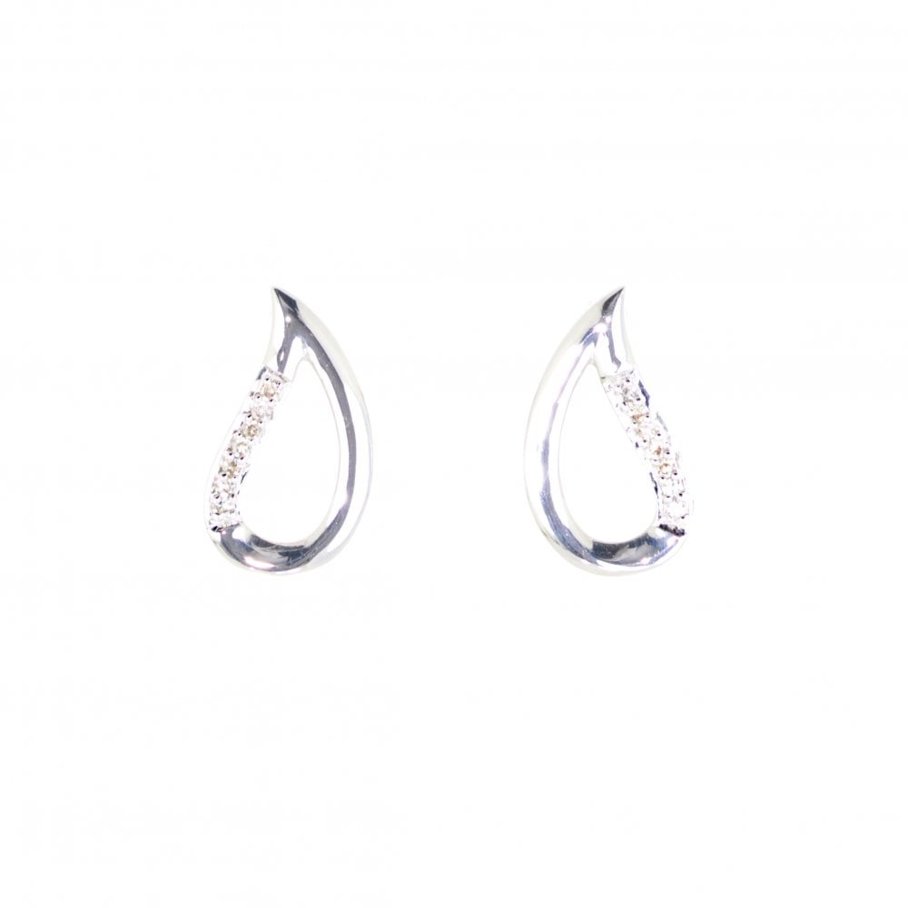 3e414dd6b Goodwins 9ct White Gold Diamond Teardrop Earrings - Ladies from ...