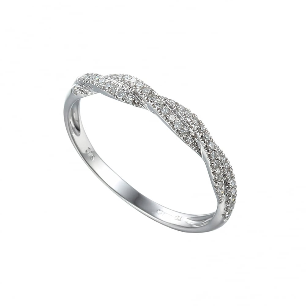 Goodwins 9ct White Gold Diamond Twisted Band Ring. - Ladies from ... 5af41322f