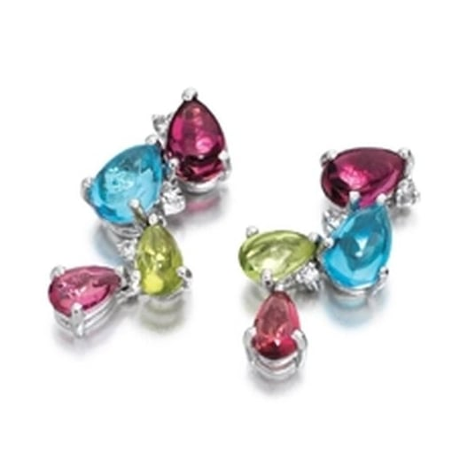 Goodwins 9ct White Gold Drop Earrings with Multi-Colour Gem Stones