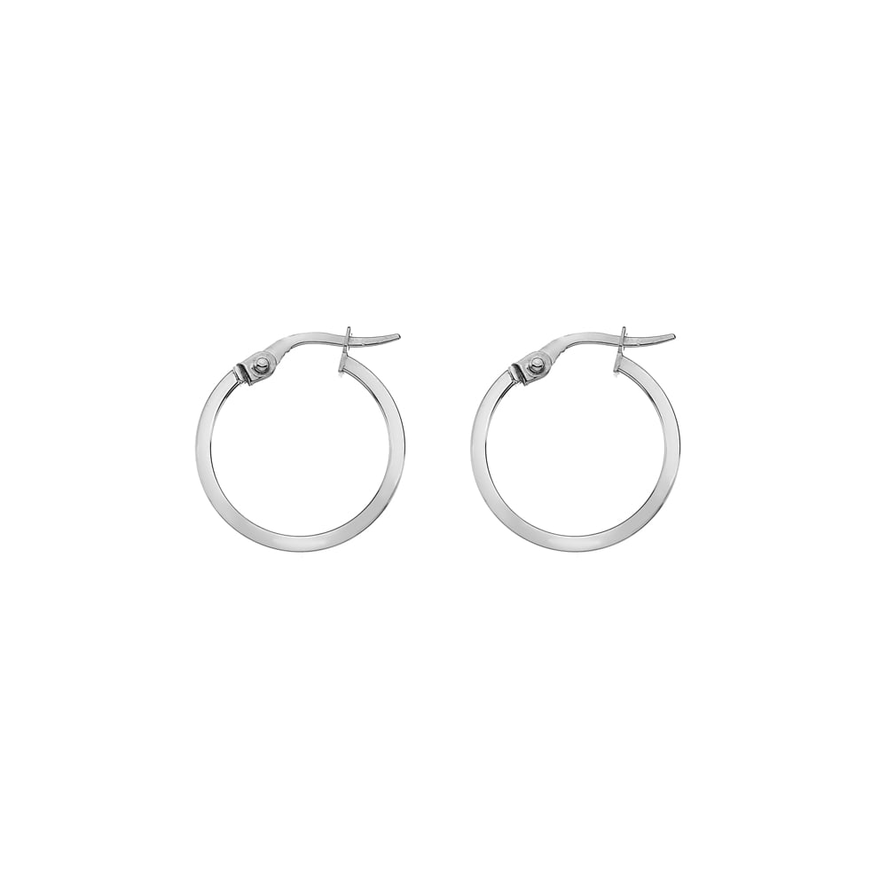 Goodwins 9ct White Gold Hoop Earrings- Small - Ladies from Goodwins ... 1e48ab87a