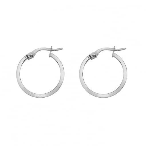 Goodwins 9ct White Gold Hoop Earrings- Small