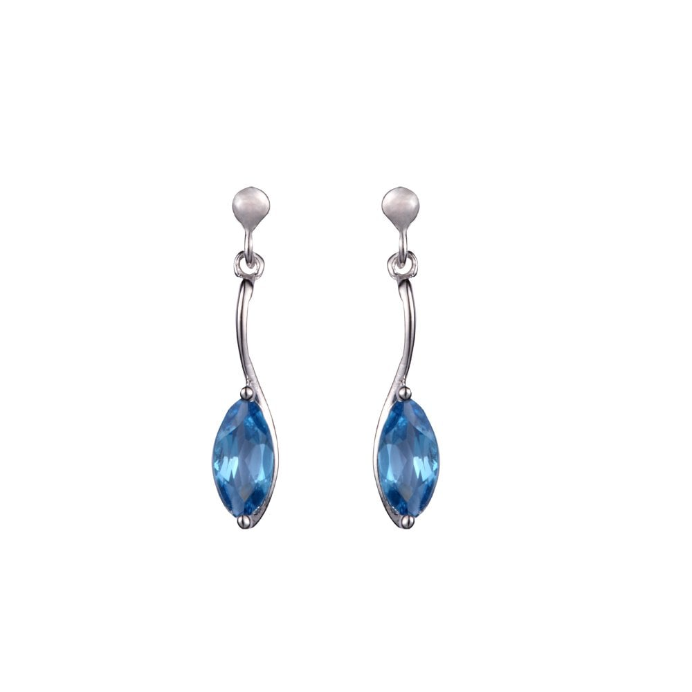 4ce3a1e35 Goodwins 9ct White Gold Marquise Cut Blue Topaz Drop Earrings ...