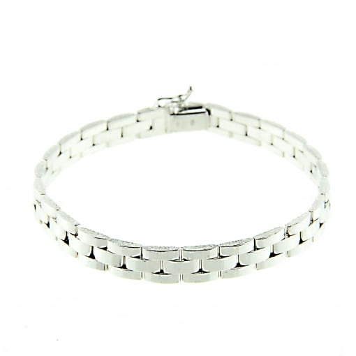 Goodwins 9ct White Gold Panther Style Bracelet 8 1/4 inches