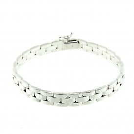 9ct White Gold Panther Style Bracelet 8 1/4 inches