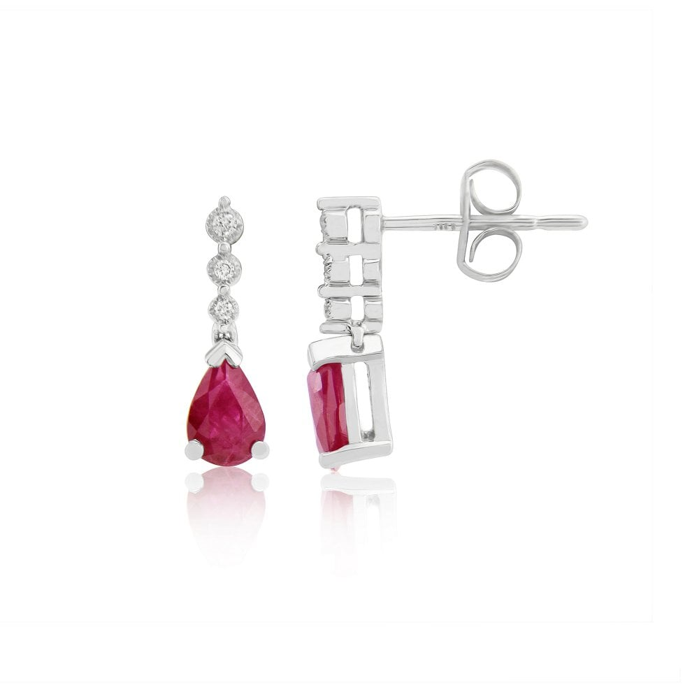 bdf10dd28 Goodwins 9ct White Gold Ruby and Diamond Drop Earrings - Ladies from ...