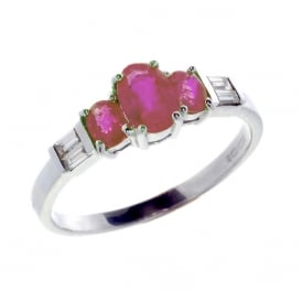9ct White Gold Ruby & Diamond Ring.