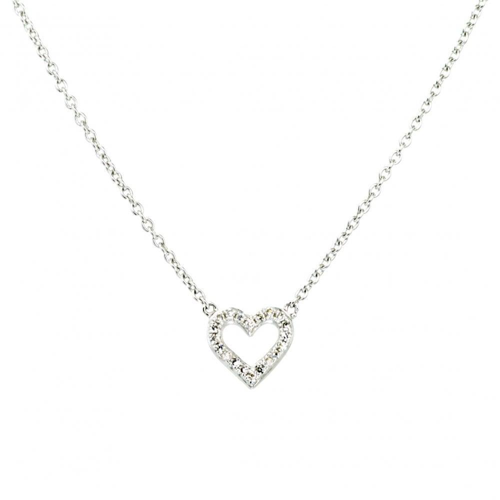 b563ce9e8e98f7 Goodwins 9ct White Gold Small Diamond Heart Necklace - Ladies from ...