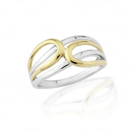 9ct Yellow and White Gold Loop Ring