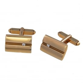9ct Yellow Gold Diamond Set Cufflinks