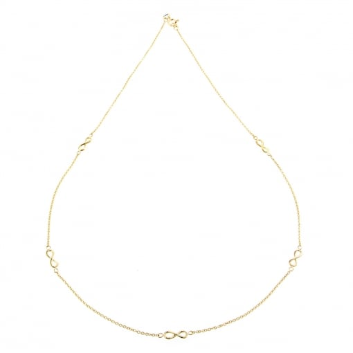 Goodwins 9ct Yellow Gold Infinity Station Necklet