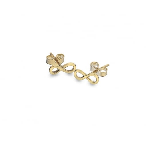 Goodwins 9ct Yellow Gold Infinity Stud Earrings