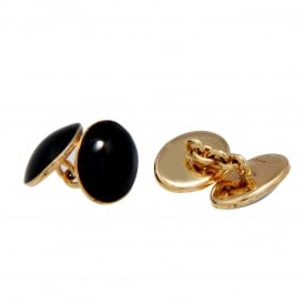 9ct Yellow Gold Onyx Cufflinks
