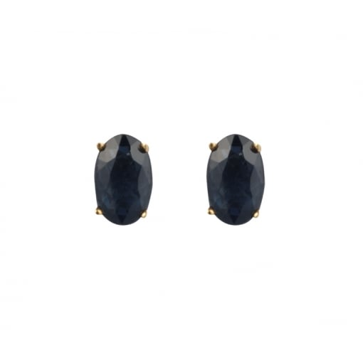 Goodwins 9ct Yellow Gold Oval Sapphire Stud Earrings