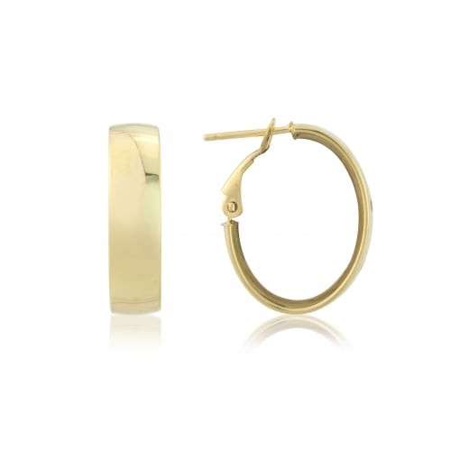 Goodwins 9ct Yellow Gold Oval Wide Hoops