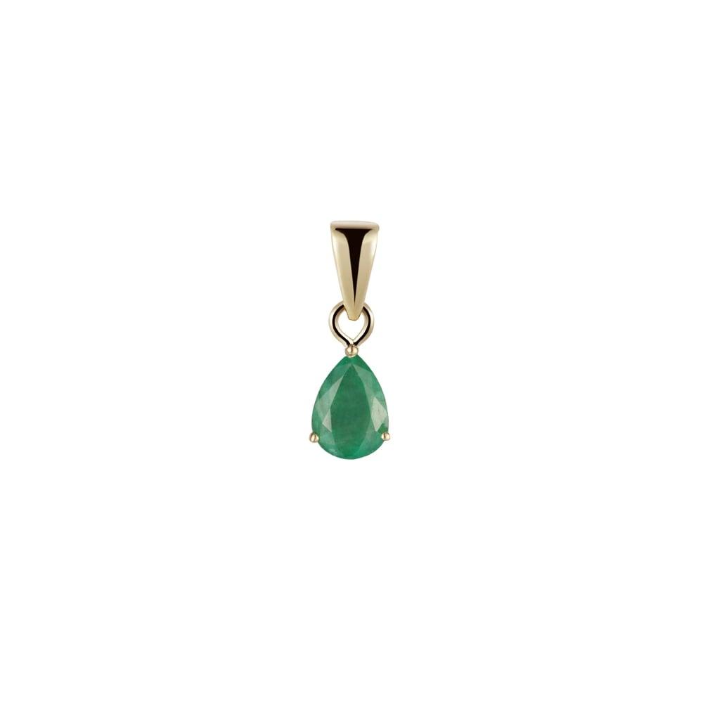 Goodwins 9ct yellow gold pear shaped emerald pendant ladies from 9ct yellow gold pear shaped emerald pendant aloadofball Images