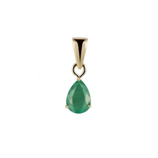 Goodwins 9ct Yellow Gold Pear Shaped Emerald Pendant