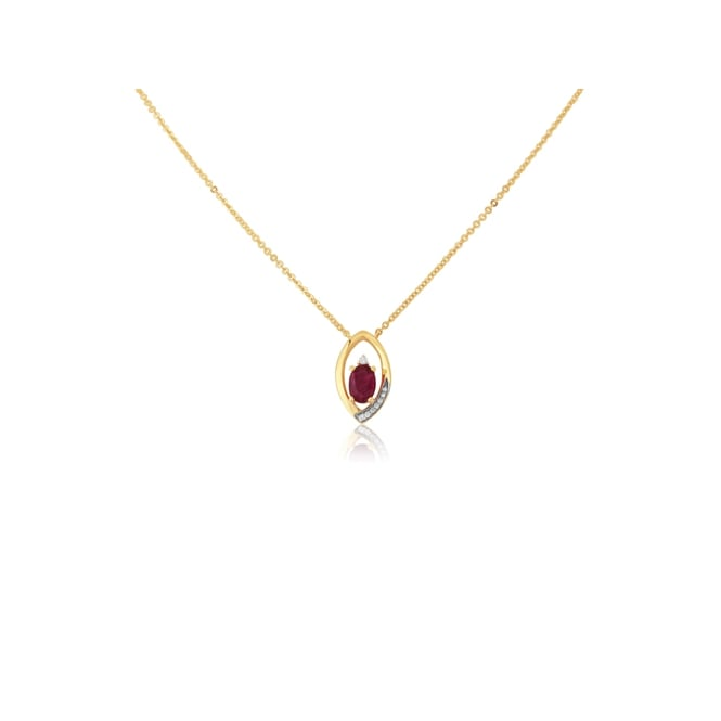Goodwins 9ct Yellow Gold Ruby and Diamond Necklace