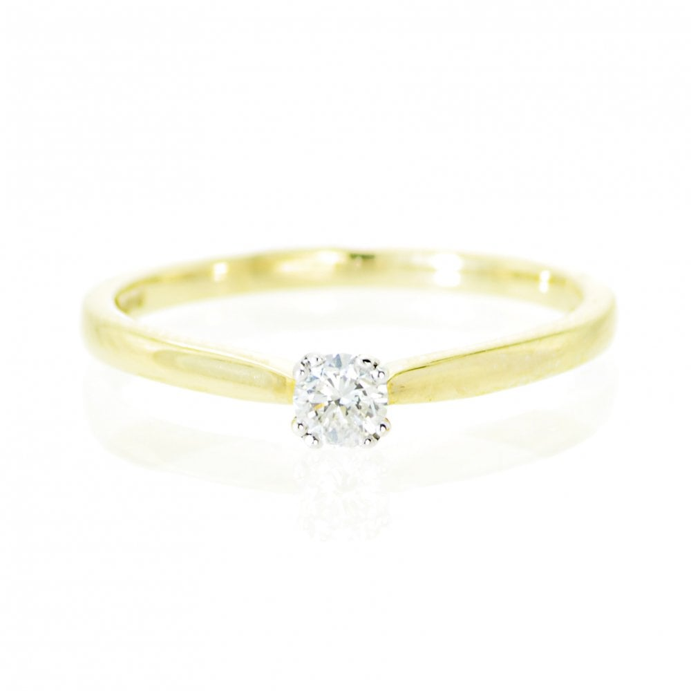 Goodwins 9ct Yellow Gold Solitaire Diamond Ring 0 15ct Ladies From Goodwins Jewellers Uk