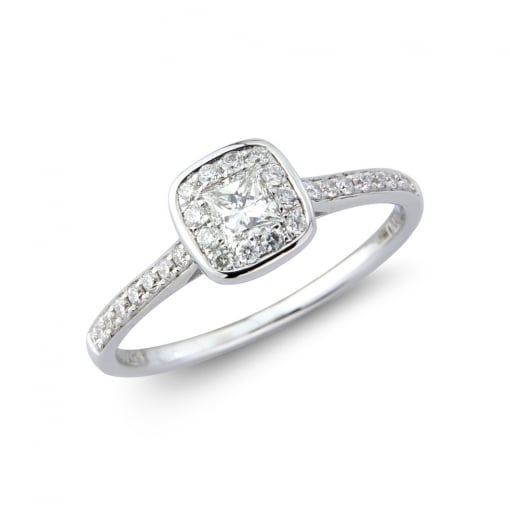 Goodwins Platinum Cushion Shaped Halo Ring with Diamond set Shoulders