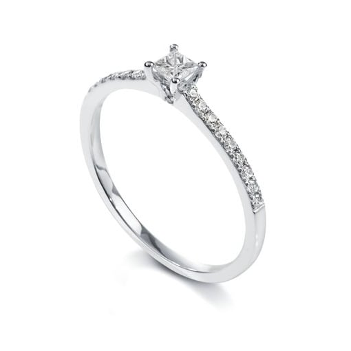 Goodwins Platinum, Princess Cut Diamond Ring with Diamond Set Shoulders.