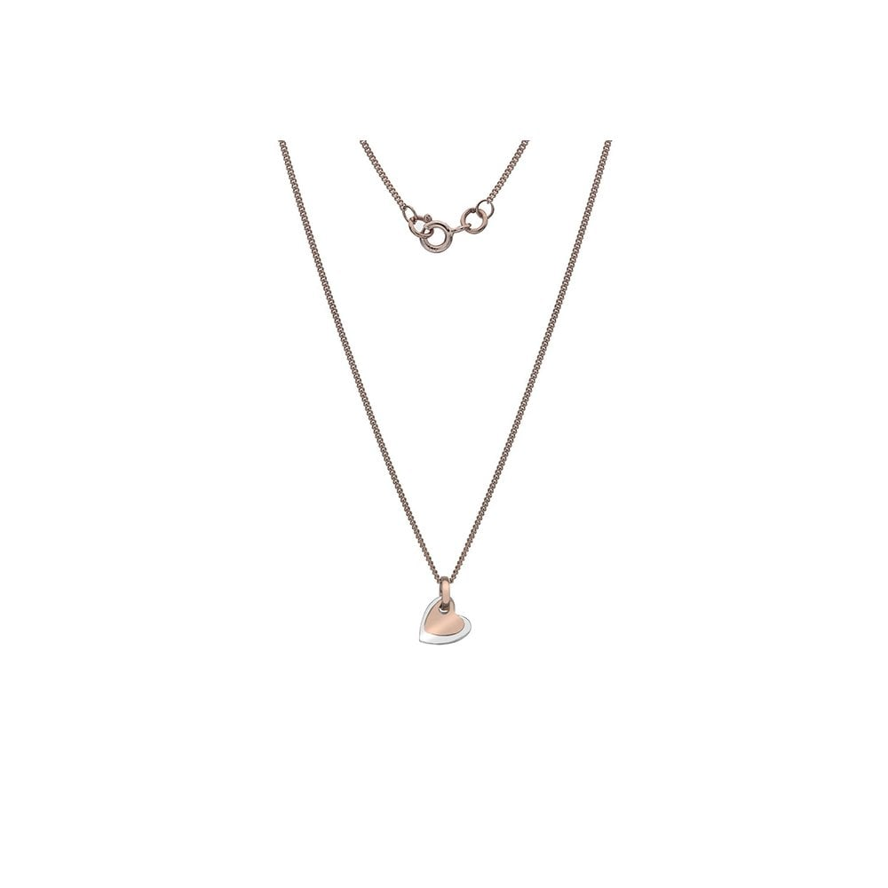 e784d331be85f6 Goodwins Tiny 9ct Rose and White Gold Double Heart Pendant and Chain ...