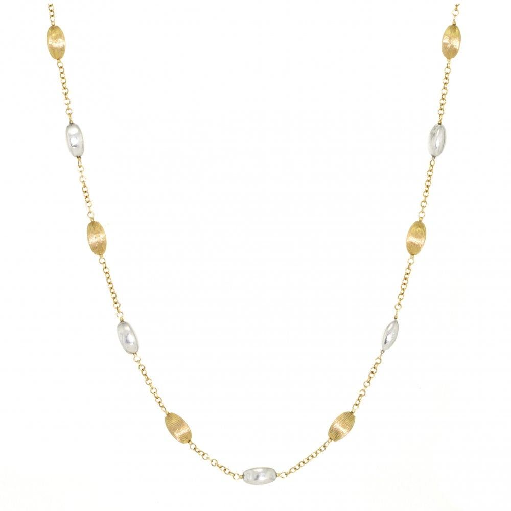 2b71914df54 9ct Yellow and White Gold Bead and Chain Necklace