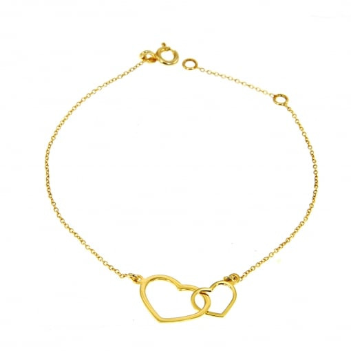 Laurel 9ct Yellow Gold Bracelet with Hearts