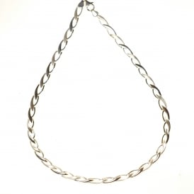 Silver Necklet with Satin and Polished Links