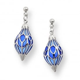 Blue Enamel and Sterling Silver Drop Earrings